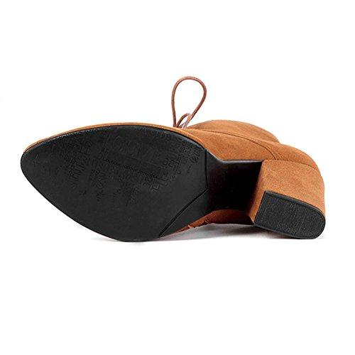 Retro Donne Di Spessore Alto Tacchi Balestruccio Stivali Corto Pelle Cinghia Tubo Basso Lato Cerniera Caldo Caviglia Scarpe brown