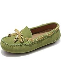 Sunny&Baby Penny Driving Loafer Gamuza Cuero Genuino Señora Casual Mocasines Barco Zapatos de Vestir Antideslizante (Color : Verde,…