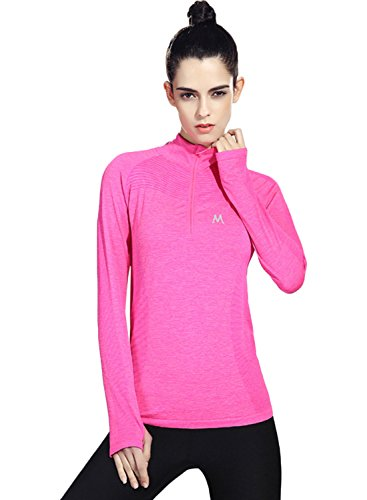 ACHICGIRL Women's Long Sleeve Active Tee With Thumb Hole Fuchsia