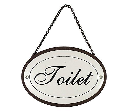 Türschild Toilet Oval an Kette Metall Vintage Weiß Nostalgie Toilettenschild 11,5x16cm