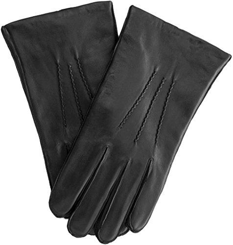 EEM Herren Leder Handschuhe WILLIAM aus Lammnappaleder mit drei Abnähern auf der Oberhand, elegant, zeitlos, klassisch, schwarz XXL