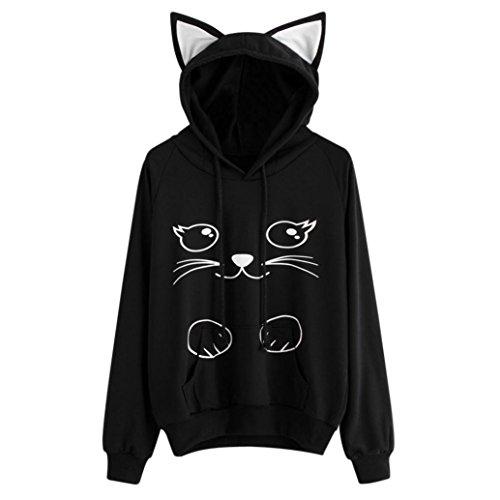 pullover Pullover Cat Langarm Hoodie Damen Sweatshirt Tops Winter Stickerei Kapuzen Bluse LMMVP (Black, XXL) (Mädchen Mit Katze Kostüm)