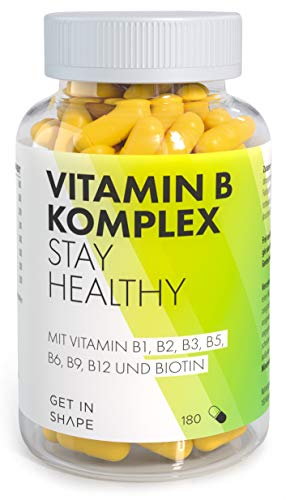 Vitamin B Komplex (180 Kapseln) Vitamin B12, Biotin, Folsäure, Vitamin B6, Niacin Vitamin B5, B3, B1 - hochdosierte Vitamine von Get in Shape -