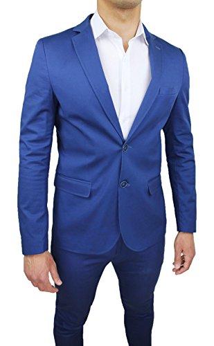 Abito completo uomo blu chiaro collezione sartoriale slim fit vestito elegante cerimonia 100% made in Italy