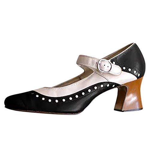 Damen Sandalen Heels, PU Leder Oxfords Brogue Schnalle Knöchelriemen Vintage Mary Jane Schuhe Chunky High Block Heel Kleid Pumps Plus Size für Frauen Oxford-high Heel-plattform