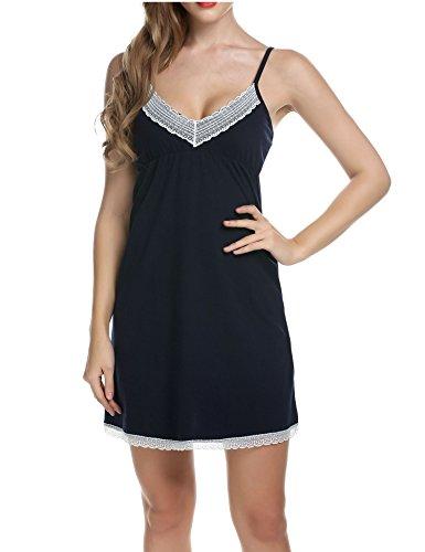 Ekouaer Schlafanzug Kurz Damen Nachtkleid V-Ausschnitt Sleepshirt Zweiteiliger Schlafanzug Ärmellos Nachthemden für Frauen B-Dunkelblau