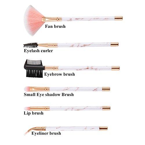 Lolittas 6 Pcs Marbre Maquillage Brosse Costume Brosse À Oeil Cils Brosse Beauté Maquillage Outil
