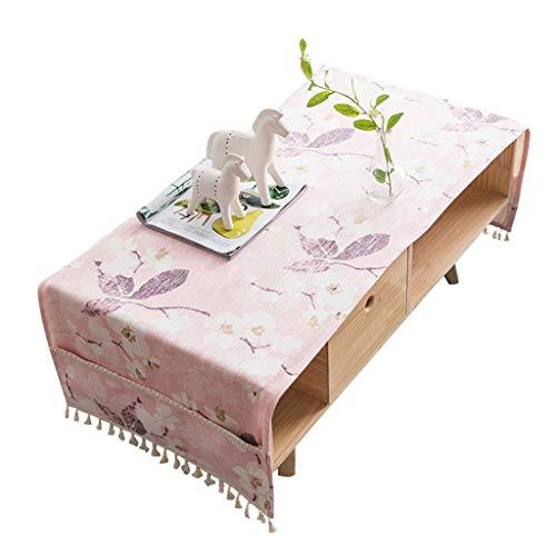 Nappe de Table Basse, Nappe rectangulaire, Meuble TV de Salon, Nappe en Coton et Lin (Couleur : Pink, Taille : 60×180cm)