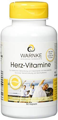 Warnke Gesundheitsprodukte Herz-Vitamine Multivitamin mit Coenzym Q10, Traubenkernextrakt, Aminosäuren u.v.a.m, 90 Kapseln, vegi, 1er Pack (1 x 87 g)