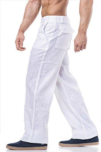 Leinenhose Freizeithose in schwarz oder weiss erhältlich Weiß