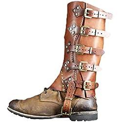 Vintage Cubierta de Zapatos de PU Cuero Medioevo Renacimiento Cubierta de los Zapatos Victoria Vikingos Pirata Shoes Cover Ajustable Hebilla Polainas Botas