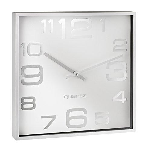 Alco 187-10 Wanduhr, ca. 28,3 x 28,3 x 4,1 cm, silber weiß