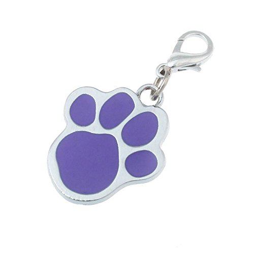 Kicode Puppy Glitter Round Paw Platten Haustier Hund Katze Kätzchen Schöne Ziemlich ID-Kragen-Umbau Halsketten-Anhänger-Zink-Legierung Gravierte Kragen zufällige Farbe