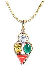 Aquarius Zodiac Rudra Divine Self Certified Multicolor 100% Original Semi Precious Gemstone Prosperity Pendant...