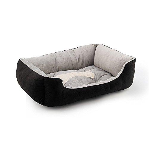 KingNew Alfombrilla de cama para perro, gato o cachorro, tamaño grande, de forro polar, color negro