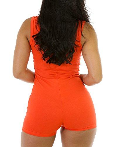 Donna Monopezzi E Tutine Tinta Unita Jumpsuit Senza Maniche Girocollo Playsuit Orange
