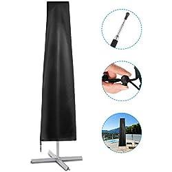 Deyard Parasol Cover Housse pour Parapluie Extra-Large à Suspension Invisible avec Fermeture éclair Invisible, Style trapézoïdal, revêtement en Argent