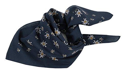 Trachtentuch Halstuch Trachten Damen/Herren - fesches Trachtenhalstuch mit Edelweiß - Blau/Marine