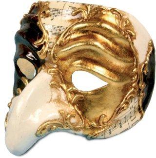 Venezianische Maske Pulcinella Schach Musik Hakennase zu (Commedia Kostüme Colombina Dellarte)