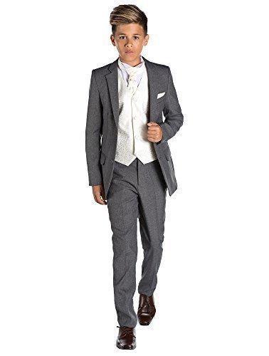 nabenanzug, grau, feiner passgenauer Anzug, Weste & Krawatte, 12-18Monate–13Jahre Gr. 13 Jahre, elfenbeinfarben (Amp Anzug Kostüm)