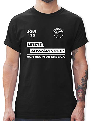 JGA Junggesellenabschied - JGA 2019 Letzte Auswärtstour Bräutigam - XL - Schwarz - L190 - Herren T-Shirt und Männer Tshirt (Herren Shirt Kostüm)