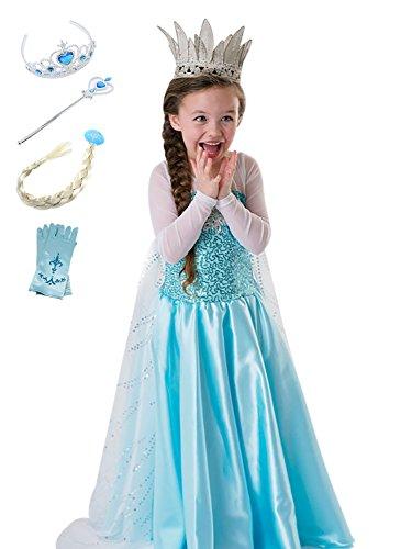faschingskostuem eiskoenigin elsa FStory&Winyee Kinder Kostüm Eiskönigin Mädchen Prinzessin Kleid ELSA Glanz Kleid Blau Verkleidung Karneval Party Kostüme Weihnachten Halloween Fest