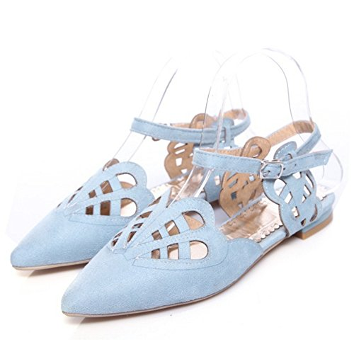 TAOFFEN Damen Gem¨¹tlich Fesselriemen Schnalle Flach Sandalen Ausgeschnitten Shoes Blau