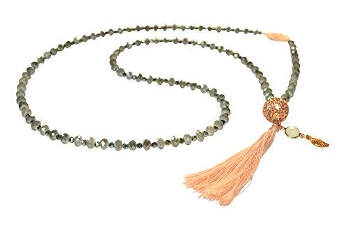 Orientalischer Touch: Lange grau-grüne Glaskette mit Glitzer-Kugel, gold-farbenem Ornament und beiger Quaste