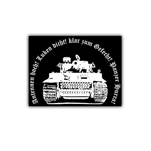 Copytec Aufkleber/Sticker - Tiger Panzer Hurra Kampfpanzer Legende Panzerkampfwagen Antennen hoch! 7x5cm #A1652