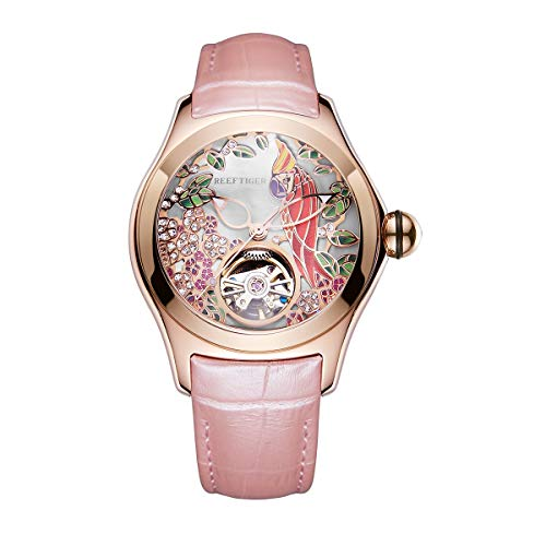 REEF TIGER Damen Uhr analog Automatik mit Leder Armband ORGA7105-PSP - Psp Herren