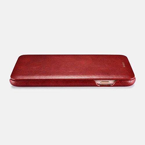 zanasta Echt Ledertasche iPhone 8 / iPhone 7 Lederhülle Echt Leder Tasche Hülle Premium Schutzhülle Flip Case mit Klappverschluss Glattleder Oberfläche | Vintage Braun Rot