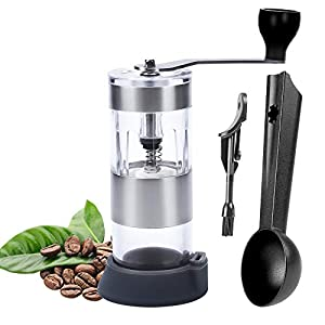 Ninonly Manual Coffee Grinder Premium with Professional Grade Conical Ceramic Burr and Spoon Brush Portable Hand Coffee Grinder for Home, Office,Travel or Camping