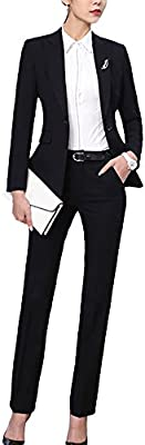 SK Studio Mujer Blazer Chaqueta Pantalón Negocios Manga Larga Ajustado Pantalón De Traje Abrigo Con Bolsillo