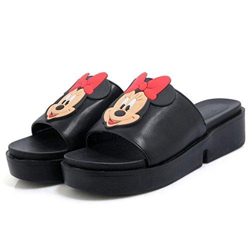 TAOFFEN Damen Beilaufig Mickey Mouse Plateau Keilabsatz Slide Sandalen Open Back Schwarz