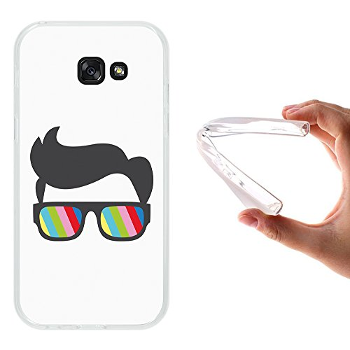 WoowCase Samsung Galaxy A5 2017 Hülle, Handyhülle Silikon für [ Samsung Galaxy A5 2017 ] Sonnenbrille und Nerd Stil Handytasche Handy Cover Case Schutzhülle Flexible TPU - Transparent