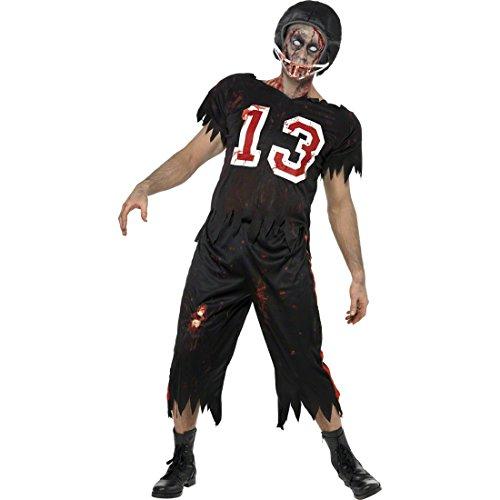 Football Kostüm Zombie schwarz L 52/54 Footballkostüm Footballerkostüm Horrorkostüm Halloweenkostüm Footballer Sportler ()
