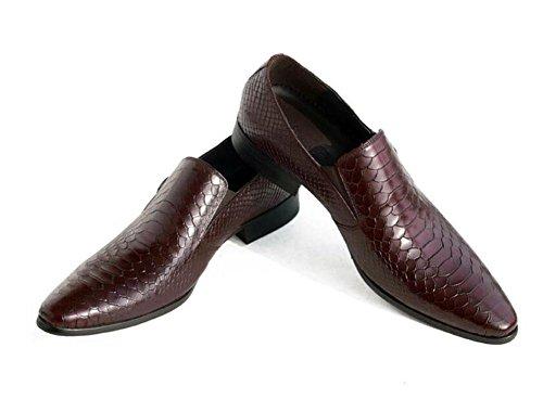 SHIXR Männer Oxford Schlange Leder Haut Schicht Rindsleder spitz Männer Schuhe British Buckle Schuhe Business Herren Schuhe Haar Stylist Schuhe Brown