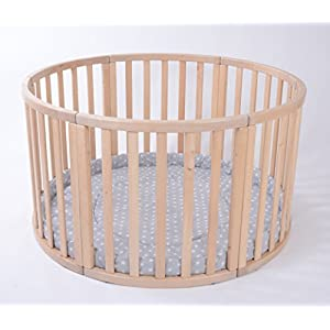 MJmark Round PLAYPEN APOLLO UNO VERY LARGE Wooden play pen with play-mat in Grey with white Stars SALE SALE   10