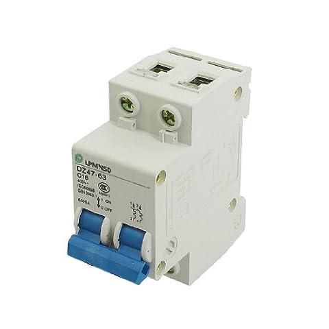 DZ47-63 C16 16A 400VAC 6000A Breaking Capacity 2 Poles Circuit