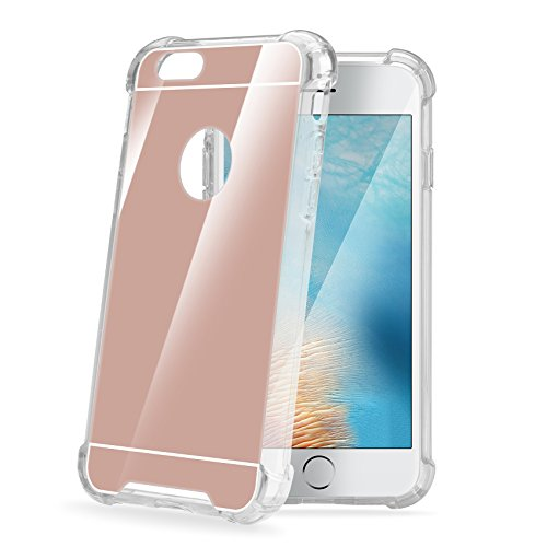 Celly Armor Mirror Coque rigide avec dos à miroir et cadre transparent en caoutchouc pour iPhone 7Plus rose