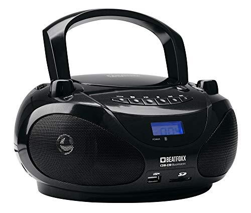 Beatfoxx Boomtastic Tragbarer CD-Player mit Bluetooth (Boombox, Ghettoblaster, Radiorecorder, USB/SD/MP3-Player, UKW-Radio, Batteriebetrieb) schwarz
