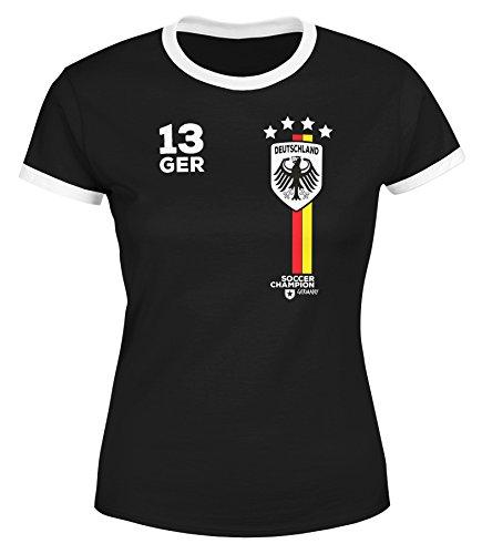 MoonWorks Damen Fan-Shirt Fußball Retro Deutschland Germany Weltmeisterschaft Fan-Trikot Style WM 2018 Schwarz-Weiß S