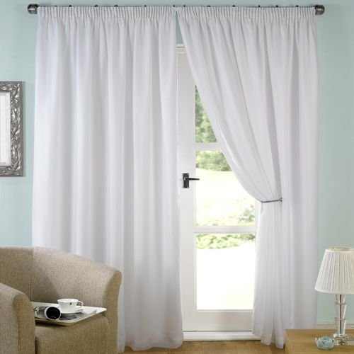 LUXURY WHITE LINED VOILE CURTAINS PENCIL PLEAT (46