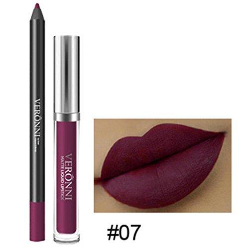 LONUPAZZ 2pcs Rouge à Lèvres Mat Liquide Longue Durée Lip Liner Waterproof Maquillage Cosmétiques Kit Sexy Lip Gloss (G)