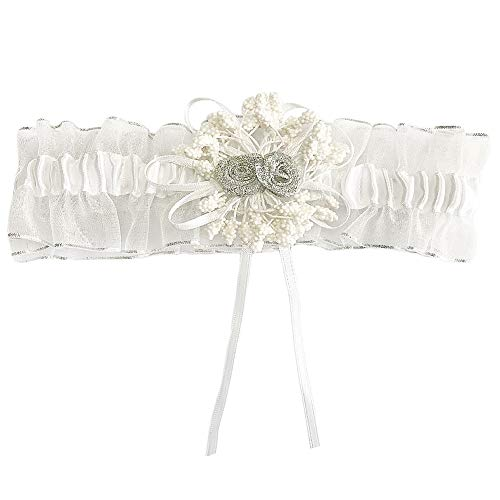 CQDY Hochzeit Braut Strumpfband Spitze Hochzeit Strumpfband mit Handgemachten Blumen Leg Bands - Braut Hochzeit Zubehör (Weiß, Einheitsgröße) -