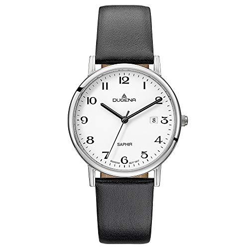 Dugena Herren Quarz-Armbanduhr, Saphirglas, Lederarmband, Zenit, Schwarz/Silber, 4460727