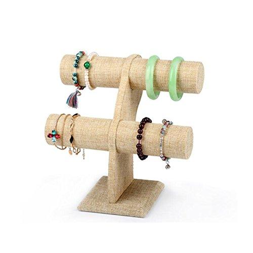santfe 2Etagen beige Leinen Schlepplift Armband Armreif Armbanduhr Schmuck Ständer Display Halterung Beige-leinen, Schmuck-display