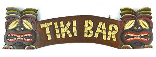 Rustikal Hand Made Tiki Bar Schild mit zwei Masken Polynesische Hawaiian Art
