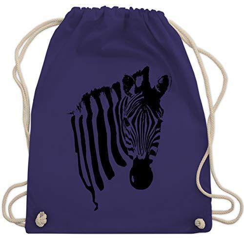 Wildnis - Zebra - Unisize - Lila - WM110 - Turnbeutel & Gym Bag