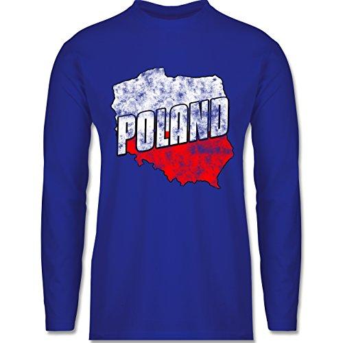 Shirtracer FußballWM 2018 Russland Poland Umriss Vintage Herren Langarmshirt  Royalblau